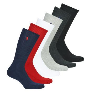 Accessoires Heren Sokken Polo Ralph Lauren ASX110 6 PACK COTTON Zwart / Rood / Marine / Grijs / Grijs / Wit