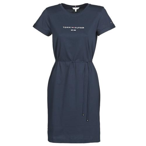 Textiel Dames Korte jurken Tommy Hilfiger TH ESS HILFIGER REG C-NK DRS SS Marine