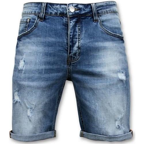 Textiel Heren Korte broeken / Bermuda's Enos Korte Broek Denim Short Blauw