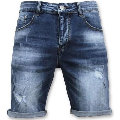 Textiel Heren Korte broeken / Bermuda's Enos Korte Broek Gescheurd Short Blauw