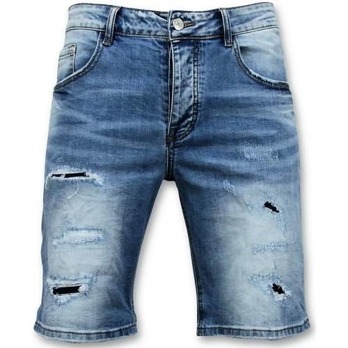 Textiel Heren Korte broeken / Bermuda's Enos Korte Broek Gescheurde Jeans Short Blauw