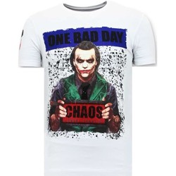 Textiel Heren T-shirts korte mouwen Local Fanatic Stoere T-shirt - The Joker Man - Wit