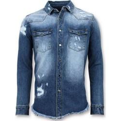 Textiel Heren Overhemden lange mouwen Enos Lange Spijker Denim Blouse Blauw