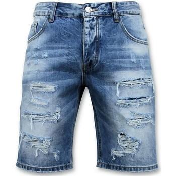 Textiel Heren Korte broeken / Bermuda's Enos Korte Broek - Ripped Short - 9073 - Blauw