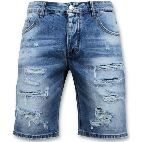 Textiel Heren Korte broeken / Bermuda's Enos Korte Broek Ripped Short Blauw