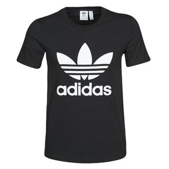 Textiel Dames T-shirts korte mouwen adidas Originals TREFOIL TEE Zwart