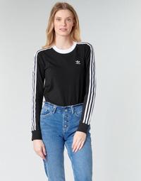 Textiel Dames T-shirts met lange mouwen adidas Originals 3 STR LS Zwart