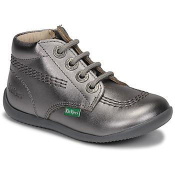 Schoenen Meisjes Laarzen Kickers BILLYZIP-2 Zilver
