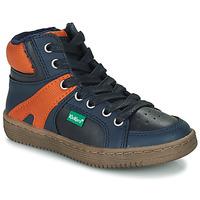 Schoenen Jongens Hoge sneakers Kickers LOWELL Marine / Oranje