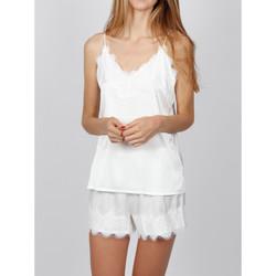 Textiel Dames Pyjama's / nachthemden Admas Pyjama Zachte Crepe witte Adma's Wit