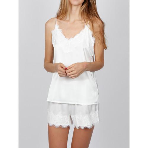 Textiel Dames Pyjama's / nachthemden Admas Pyjama Soft Crepe wit Wit