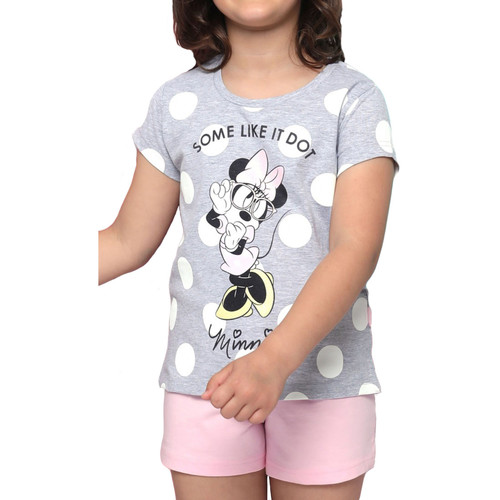 Textiel Dames Pyjama's / nachthemden Admas Pyjamashort t-shirt Minnie Dots Disney grijs Lichtgrijs
