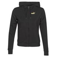 Textiel Dames Trainings jassen Puma METALLIC FZ HOODY TR Zwart / Goud