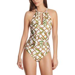 Textiel Dames Badpak Selmark Zwempak 1 stuk multi-positie ketting Bambu wit  Mare Wit