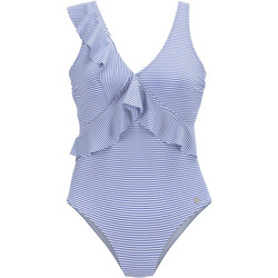 Textiel Dames Badpak Lascana marineblauw 1-delig multi-positie badpak met ruches Blauw Marine