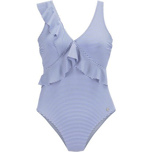 Textiel Dames Badpak Lascana 1-delig multi-positie zwempak met marineblauwe ruches Blauw Marine