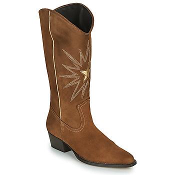 Schoenen Dames Hoge laarzen Fericelli NISCOME Camel / Goud