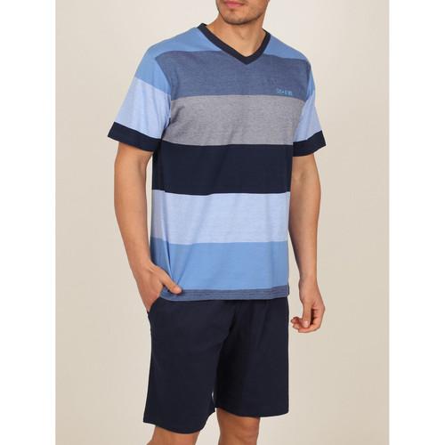 Textiel Heren Pyjama's / nachthemden Admas For Men Homewear pyjamashorts t-shirt Stay Stripes blauw Admas Blauw