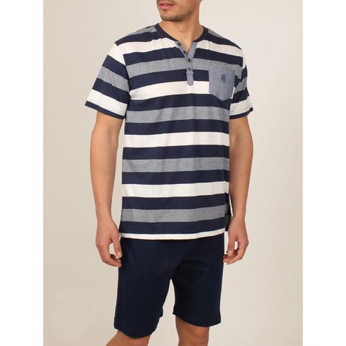 Textiel Heren Pyjama's / nachthemden Admas For Men Binnenkleding pyjamashort t-shirt Greece blauw Admas Blauw