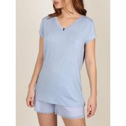 Textiel Dames Pyjama's / nachthemden Admas Frisse en zachte  Pyjama shorts t-shirt Blauw