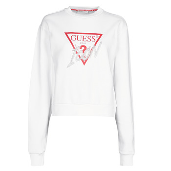Textiel Dames Sweaters / Sweatshirts Guess ICON FLEECE Wit