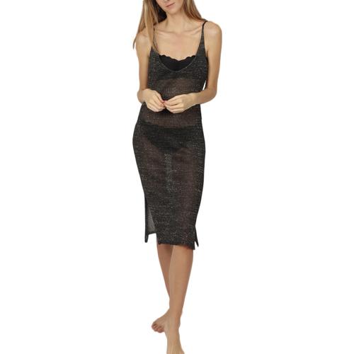 Textiel Dames Korte jurken Admas Strandjurk Night Summer zwart Parelmoer Zwart