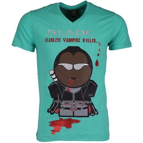 Textiel Heren T-shirts korte mouwen Local Fanatic Blade Fearless Vampire Killer Turquoise