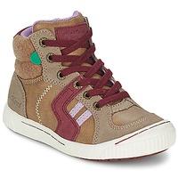Schoenen Meisjes Hoge sneakers Kickers ZIGUERS Beige / Bordeau