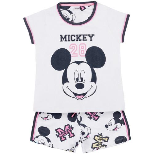 Textiel Meisjes Pyjama's / nachthemden Admas Pyjamashort t-shirt Mickey 28 Disney wit Wit