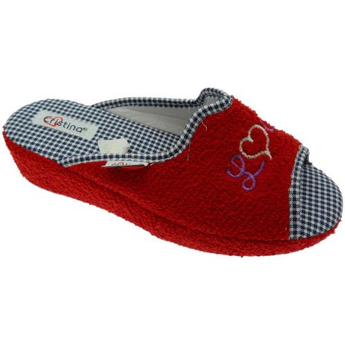 Schoenen Dames Sloffen Cristina CRIS24ros rosso
