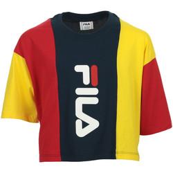 Textiel Meisjes T-shirts korte mouwen Fila Tamson Blocked Cropped Tee Kids Blauw
