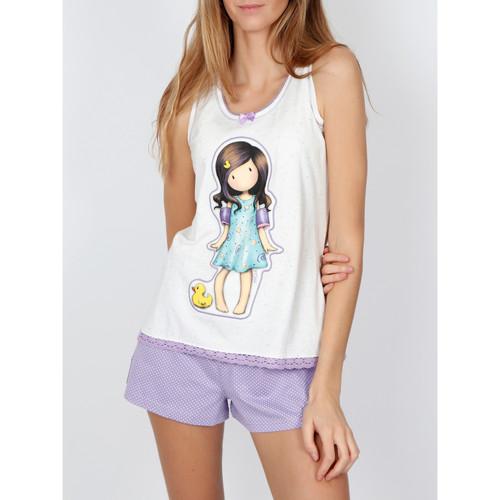 Textiel Dames Pyjama's / nachthemden Admas Pyjamashort tanktop Little Duck Santoro ivoor Geel