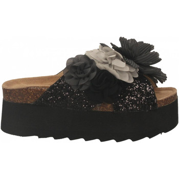 Schoenen Dames Leren slippers Colors of California HIGH SOLE BIO MAXI FLOWER black