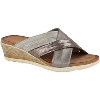 Schoenen Dames Leren slippers Cipriata  Tinnen/Zilver/Brons