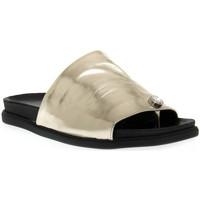 Schoenen Dames Leren slippers Sono Italiana LAMINATO PLATINO Grigio