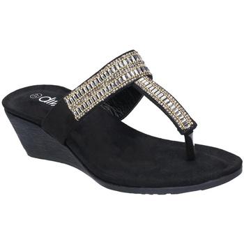 Schoenen Dames Teenslippers Divaz  Zwart