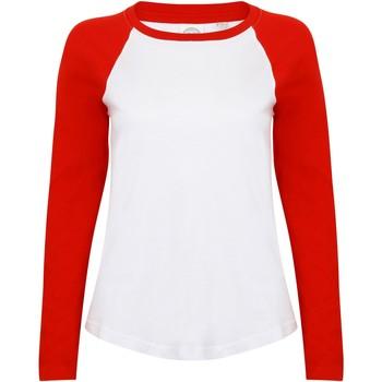 Textiel Dames T-shirts met lange mouwen Skinni Fit SK271 Wit/rood