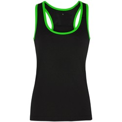Textiel Dames Mouwloze tops Tridri TR023 Zwart/ Bliksem Groen