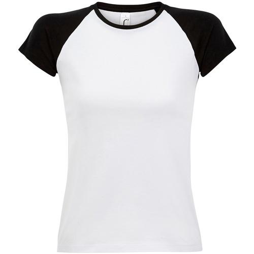 Textiel Dames T-shirts korte mouwen Sols Milky Wit/zwart