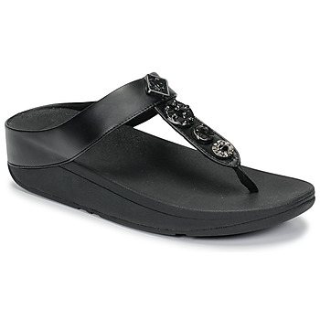 Schoenen Dames Teenslippers FitFlop FINO CIRCLE TOE-THONGS Zwart