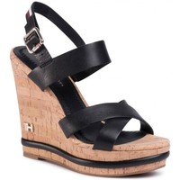 Schoenen Dames Sandalen / Open schoenen Tommy Hilfiger Corporate Wedge Sandalen Schwarz