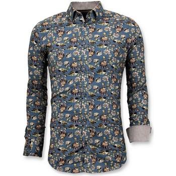 Textiel Heren Overhemden lange mouwen Tony Backer Luxe Digitale Bloemen Print Groen