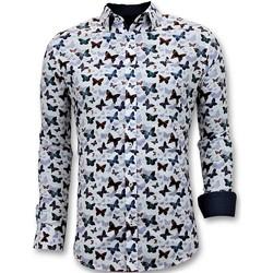 Textiel Heren Overhemden lange mouwen Tony Backer Luxe Hippe Digitale Print Wit