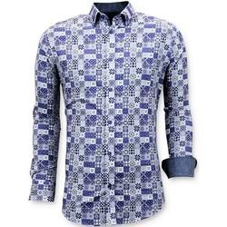 Textiel Heren Overhemden lange mouwen Tony Backer Luxe Digitale Print Blauw