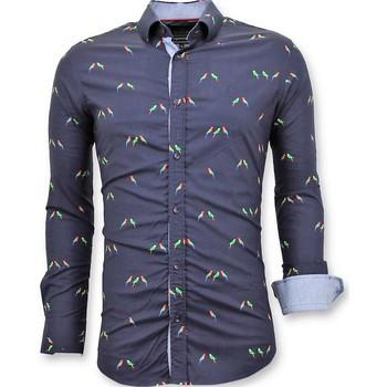 Textiel Heren Overhemden lange mouwen Tony Backer Luxe Blouse Digitale Vogel Print Blauw