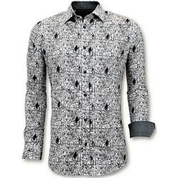 Textiel Heren Overhemden lange mouwen Tony Backer Luxe Strijkvrije Digitale Print Wit