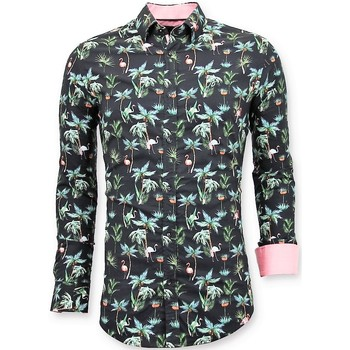 Textiel Heren Overhemden lange mouwen Tony Backer Luxe Digitale Bloemen Print Zwart