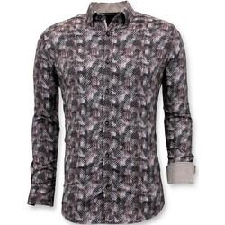 Textiel Heren Overhemden lange mouwen Tony Backer Luxe Blouse Digitale Print Bruin