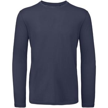 Textiel Heren T-shirts met lange mouwen B And C TM070 Navy