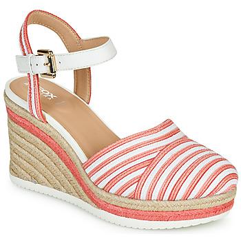 Schoenen Dames Lage sneakers Geox D PONZA Rood / Wit